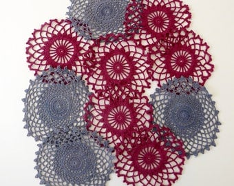 Crimson and grey large crochet medallions 10 hand dyed small vintage doilies