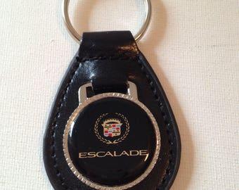 Cadillac Escalade Keychain Black Leather Key Chain