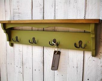 Rustic hallway coat rack with hooks, shelf, handmade from solid reclaimed wood