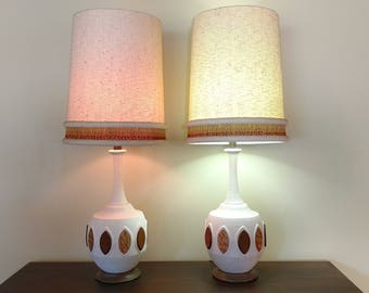 Mid Century Pair of Plaster Table Lamps