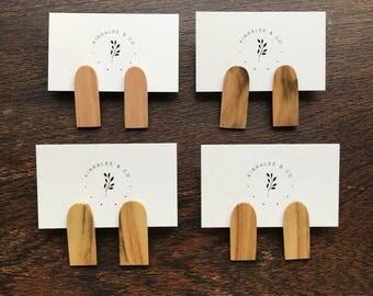 Wooden earrings, stud earrings, large studs, statement earrings, reclaimed wood, wood earrings