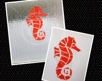 Seahorse window cling, handpainted decal for glass & mirror areas, reusable, faux stained glass effect, static cling decals, suncatcher