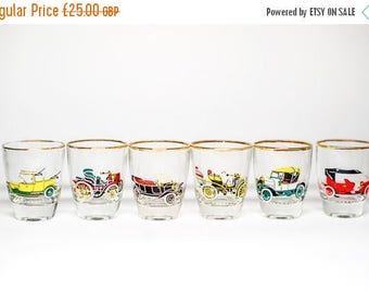 SALE Vintage Shot Glasses Cars - Six Glasses Boxed Gift