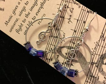 Musical Treble Clef Charm Earrings, Blue Crystal Beads, Music Note Charm, Music Lovers Gift