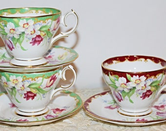 Bell China and Queen Anne  Narcissus Teacups & Saucers Set of 3 Teacups and Saucers Pattern: Narcissus Gorgeous