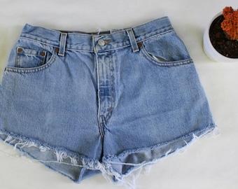 Vintage Levis 550 High Waisted Denim Jean Shorts - Cut Offs - Destroyed Jeans - Short Shorts - Distressed Denim Shorts - Festival Shorts