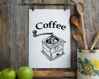 Kitchen Decor, Coffee Sign, Antique Coffee Grinder Print, Rustic Kitchen Decor, Clip Art, Quote Art Poster, Digital File