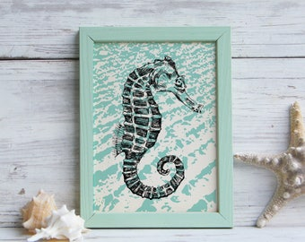 Nautical Wall Art, Seahorse Print, Sea Life Poster, Nautical Art, Seahorse Prints, Teen Room Decor, Natural Art, Kids Room Decor
