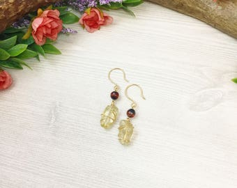 Sunstone Agate Earrings >> Wire Wrapped Gold Oregon Sunstone and Fire Agate >> Natural Stone >> Bohemian Nature Jewelry >> Gifts For Her