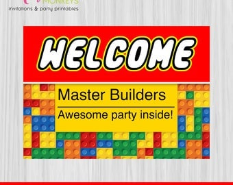 Instant Download Building Blocks Party Welcome Sign