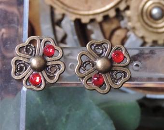 """""""Light Red"""" floral earrings"""