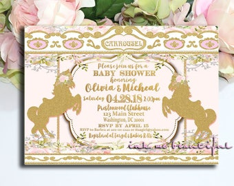 PRINTABLE  Pink and Gold Carousel Invitation, Carousel Theme Birthday Party or Baby Shower, Carousel Invite