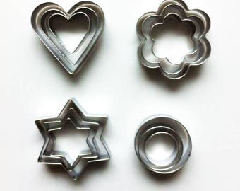 12Pcs Cookie Cutter Set/Heart Cutter/Flower Biscuit Cutters/Hexagram Star Cutter Molds/Circle Biscuit Cutters/Baking Supply/Theme Party