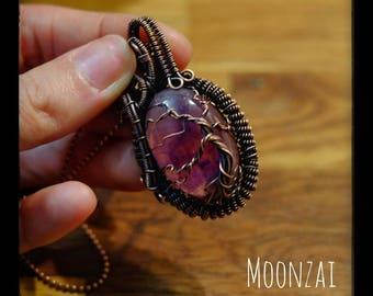 Copper tree of life pendant on Amethyst