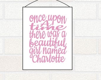 Once Upon a Time Fairytale Personalized Princess Nursery Wall Decor - Baby Girl Name Art - Pink Gold Nursery, Gray Nursery, Pink Nursery