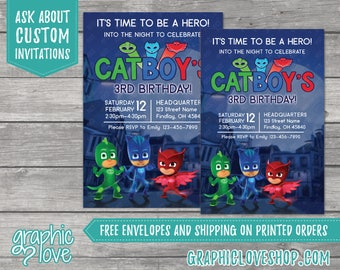 PJ Masks Personalized Birthday Invitations | 4x6 or 5x7, Digital or Printed