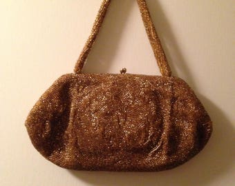 Vintage Walborg Gold Bead Evening Bag