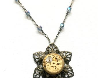 Sun flower steampunk necklace