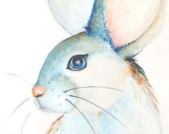Mouse painting, Original watercolor painting, Nursery decor, Nursery art, Watercolor mouse painting, Watercolor animal painting, white mouse