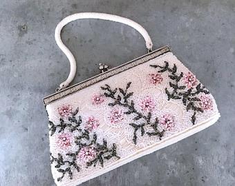 Hand beaded bag, vintage bridal purse, vintage wedding purse, beaded bag, vintage beaded purse, vintage bridal, floral beaded bag, Hong Kong