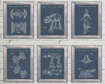 Star Wars Patent Art Star Wars Empire Space Ships AT-AT Darth Vader Shuttle Gift 4 Star Wars Fan Poster Star Wars Wall Art Set of 6 PP 4604