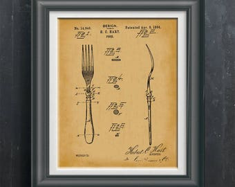 Antique Fork Patent From 1884 Kitchen Poster Print Dining Room Art Decoration Wall