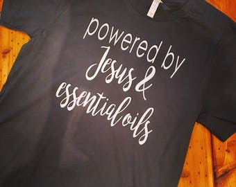 Powered by Jesus and essential oils comfy tee shirt Dark GREY