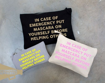 In Case of Emergency Mascara Make Up Bag Pouch Make Up Case
