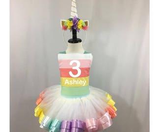 Rainbow Unicorn Birthday* Unicorn Tutu * Rainbow Tutu * Tutu Set * Tutu Outfit * 1st Birthday Tutu * Custom Tutu * Girls Tutu Skirt