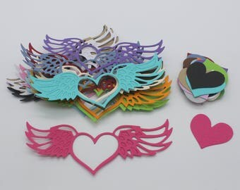 Angel wing and heart: set of die - cut cut-outs