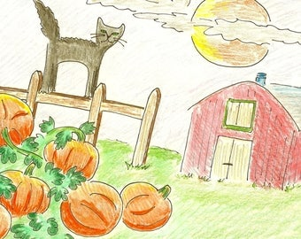 Cat on a farm with pumpkins digital download illustration