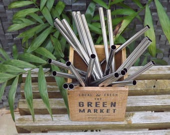 """6 Stainless steel drinking straws with cleaning brush 8.5"""""""