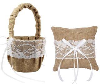 Rustic Flower Girl Basket /Rustic Ring Bearer Pillow / Burlap Flower Basket / Burlap Ring Pillow / Rustic Wedding Basket Pillow Set