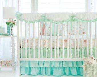 Mint Spring Floral Baby Bedding Set