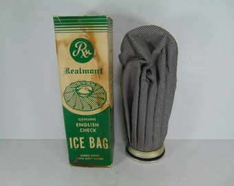 Realmont English Check Ice Bag, Ice Pack with Original Box, Vintage Medical
