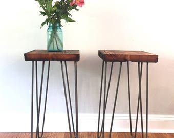 Reclaimed Barnwood Hairpin Leg Table | End Table | Nightstand | Plant Stand