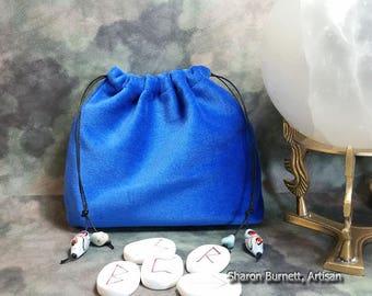 Blue Velvet (Velveteen) Drawstring Pouch Tumbled Stones and Porcelain Beads, Tarot Bag, Rune Bag, Crystal Bag, Dice Bag, Jewelry Bag Unlined