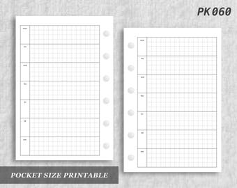 Pocket Size Printable Horizontal Wo1P Grid Weekly Week on One 1 Page Wo1 Graph Digital Download PK060