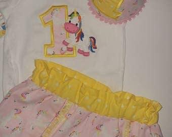 Girls Unicorn Cake Smash Outfit,Cake Smash photos,Coachella Shorts,  Brithday Outfit, Girl Birthday Outfit,