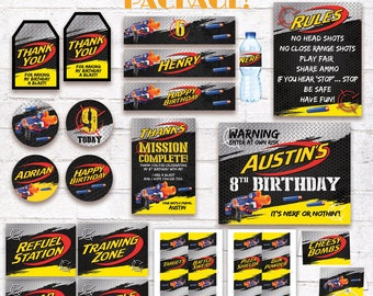 Nerf Party Printable Package Nerf Birthday Party Decorations Pack Nerf Blaster Gun Darts Party Supplies Customized Digital Files