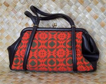 Vintage 1970's Ladies Red Welsh Tapestry Handbag