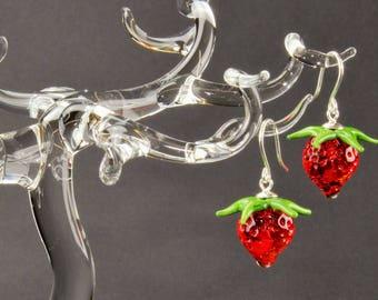 Earrings, dark red strawberries