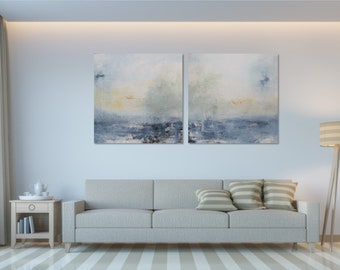 Set of 2 Original Abstract Seascape Painting Modern Wall Art Minimalist Painting Extra Large Painting Duo Abstract Paintings