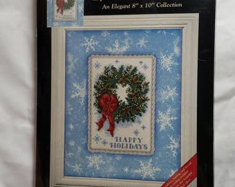 New Dimensions Gold Nuggets 8 x 10 Holiday Happiness Wreath Counted Cross Stitch Kit 8719