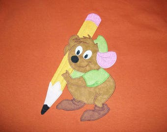 GuS with Pencil SeWiNG MouSe from CiNDeReLLa Custom Boutique Hand Applique T SHIRT Tee HoLiDaY