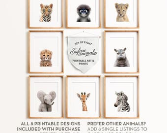 Safari nursery, Baby animal nursery art, PRINTABLE art, Safari animals, Safari animal prints, Giraffe print, Nursery wall decor, Baby room