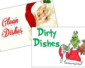 Happy Holidays with Santa and Grinch reversible dishwasher magnet