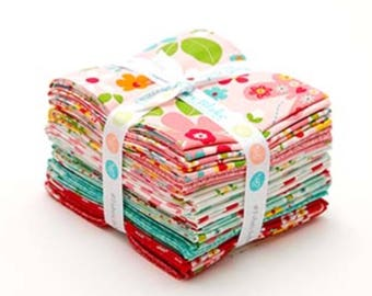"Riley Blake Fabrics, ""Garden Girls""-by Zoe Pearn-18 fat quarters, print fabric, modern floral fabrics, pink  fabric, fat quarter bundle."