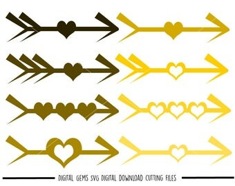 Arrows and Hearts svg / dxf / eps / png files. Digital download. Compatible with Cricut and Silhouette machines. Small commercial use ok.