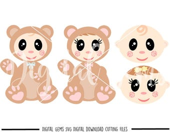 Baby and Baby bear svg / dxf / eps / png files. Digital download. Compatible with Cricut and Silhouette. Small commercial use ok.